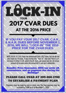 LOCK IN YOUR 2017 DUES!