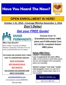 Open Enrollment October 1 - November 20/ The Benefits Store