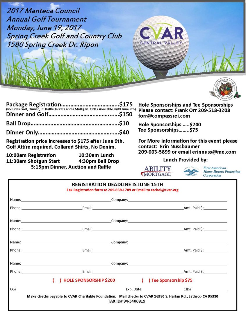 Manteca Council Golf Tournament | Central Valley