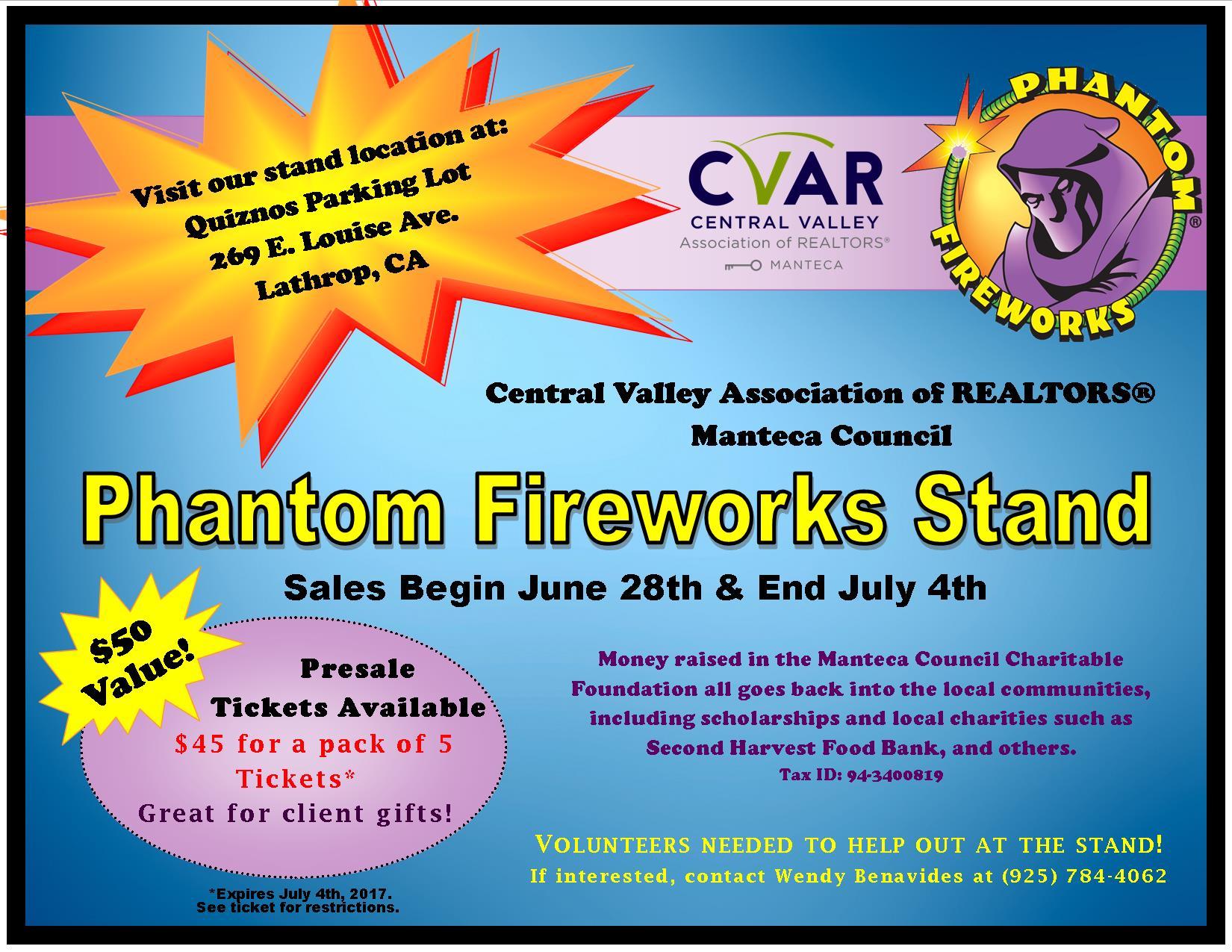 CVAR Manteca Council Phantom Fireworks Stand @ Quiznos Parking Lot | Lathrop | California | United States