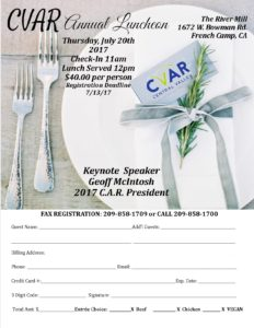 CVAR 2017 Annual Luncheon @ The River Mill | French Camp | California | United States