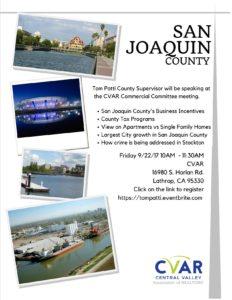 Commercial Meeting - Tom Patti SJ County Supervisor @ CVAR  | Lathrop | California | United States