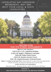 Legislative Day Luncheon Region 7 @ Sutter Club | Sacramento | California | United States
