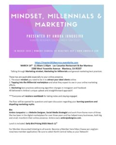 WCR Mindset, Millennials & Marketing @ Las Casuelas | Manteca | California | United States