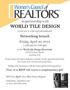 WCR Networking Brunch - World Tile Design @ World Tile Design | Turlock | California | United States