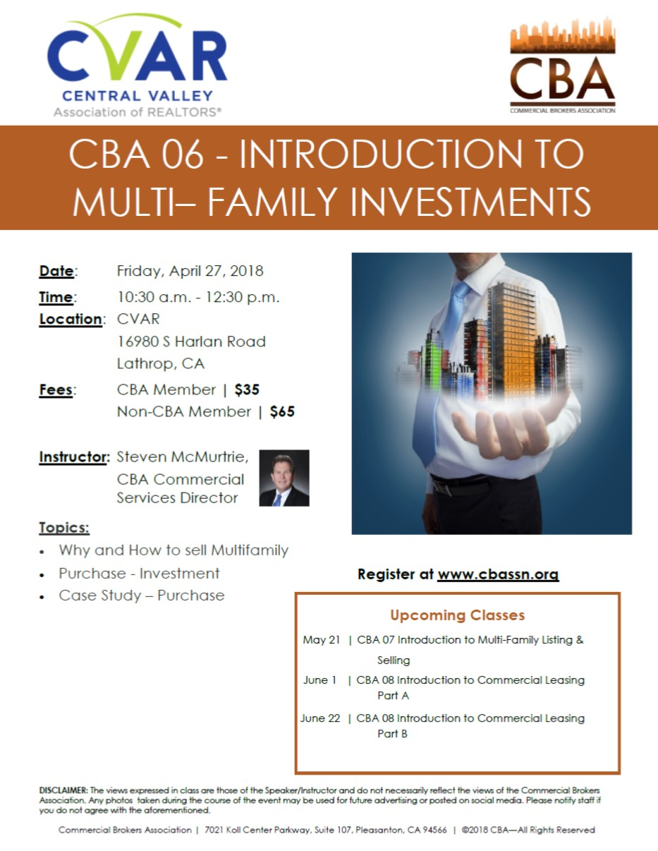 CBA06 Intro to Multi-Family Investments @ CVAR | Lathrop | California | United States