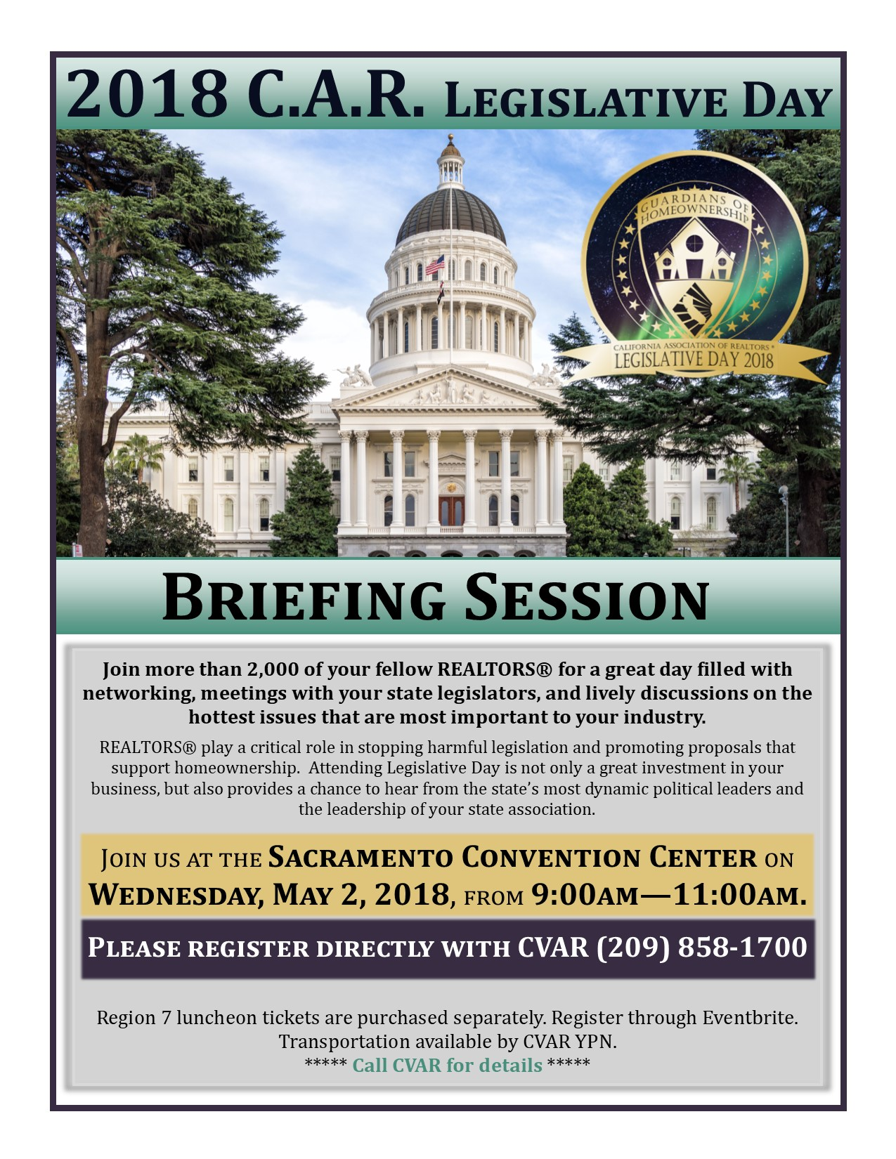 Legislative Day - Briefing Session @ Sacramento Convention Center | Sacramento | California | United States