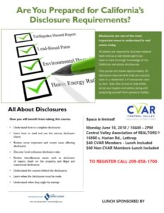 All About Disclosures. Are you Prepared? @ Central Valley AOR   Lathrop   California   United States