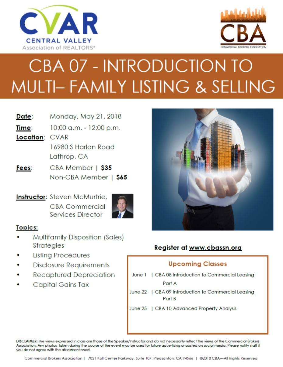 CBA 07 - Introduction to Multi-Family Listing & Selling @ CVAR | Lathrop | California | United States