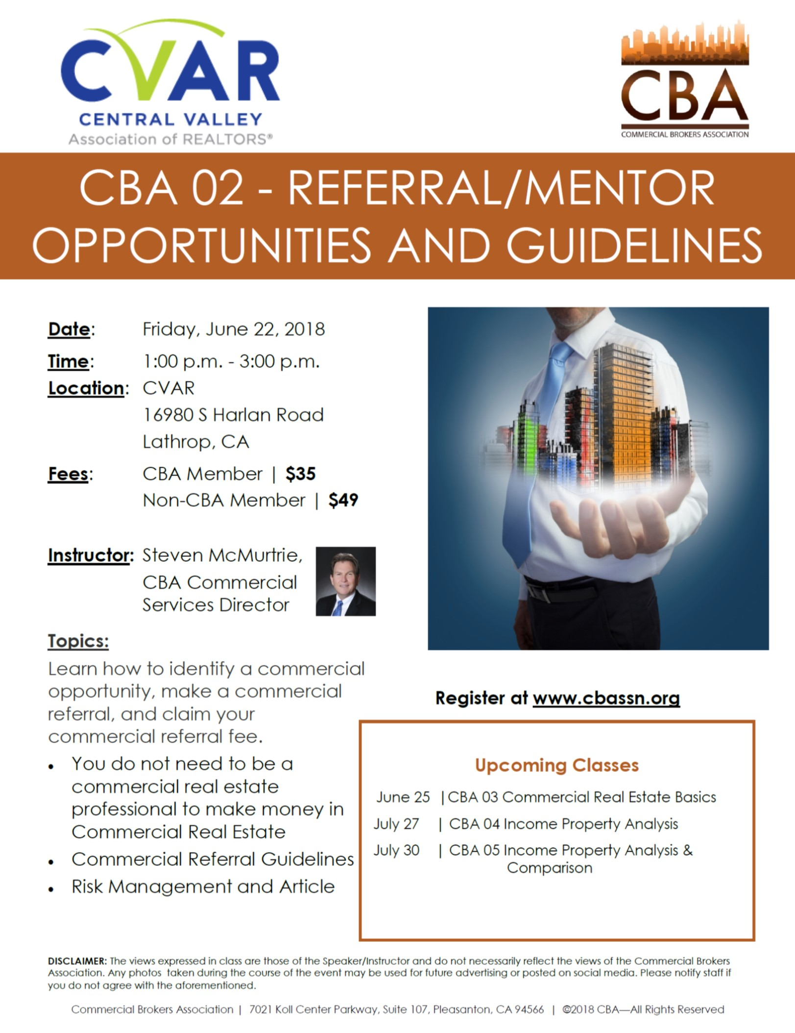 CBA 02 - Referral/Mentor Opportunities and Guidelines @ CVAR | Lathrop | California | United States