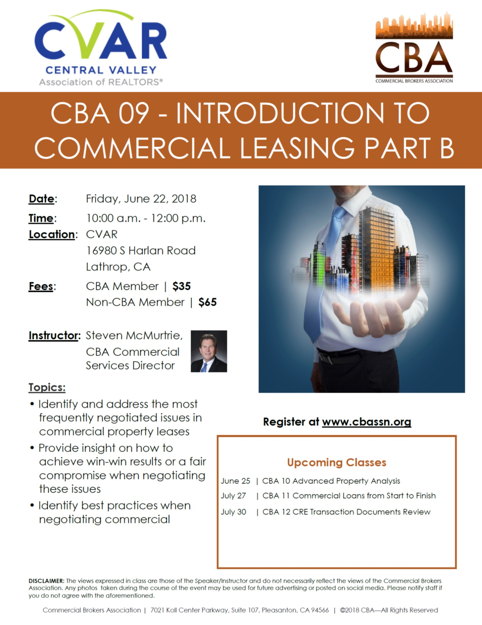 CBA 09 - Introduction to Commercial Leasing Part B @ CVAR | Lathrop | California | United States