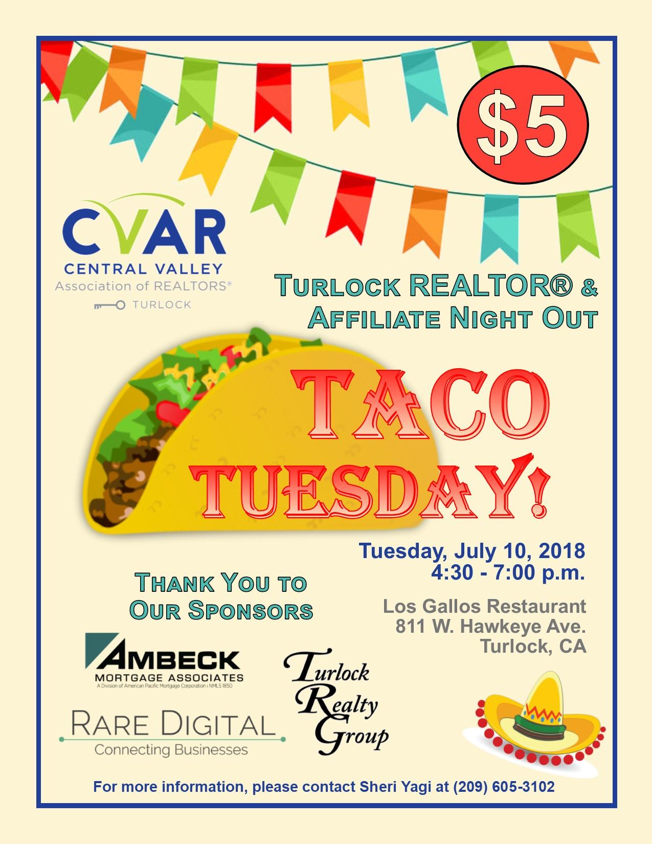 Turlock REALTOR & Affiliate Night Out - Taco Tuesday! @ Los Gallos Restaurant | Turlock | California | United States