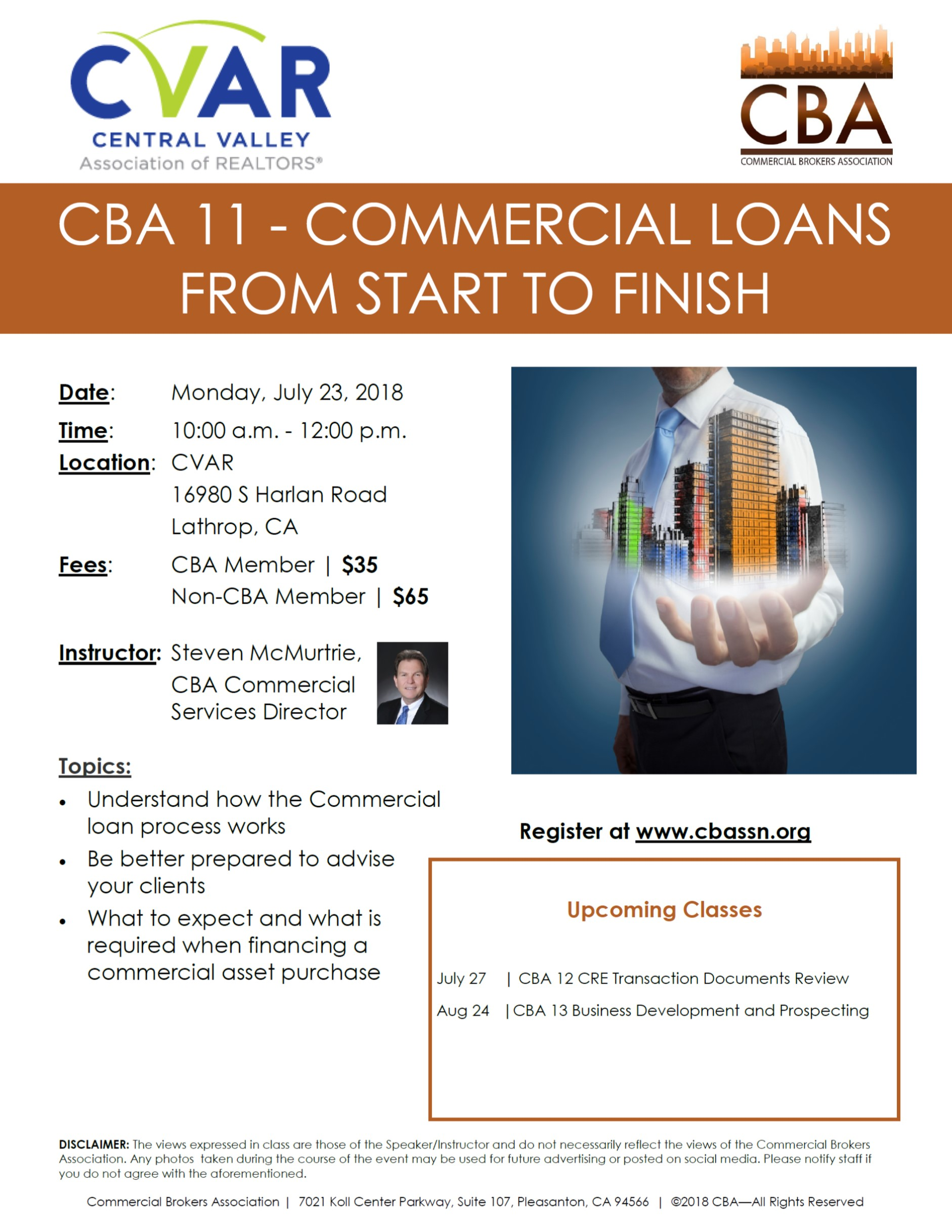 CBA 11 - Commercial Loans from Start to Finish @ CVAR | Lathrop | California | United States