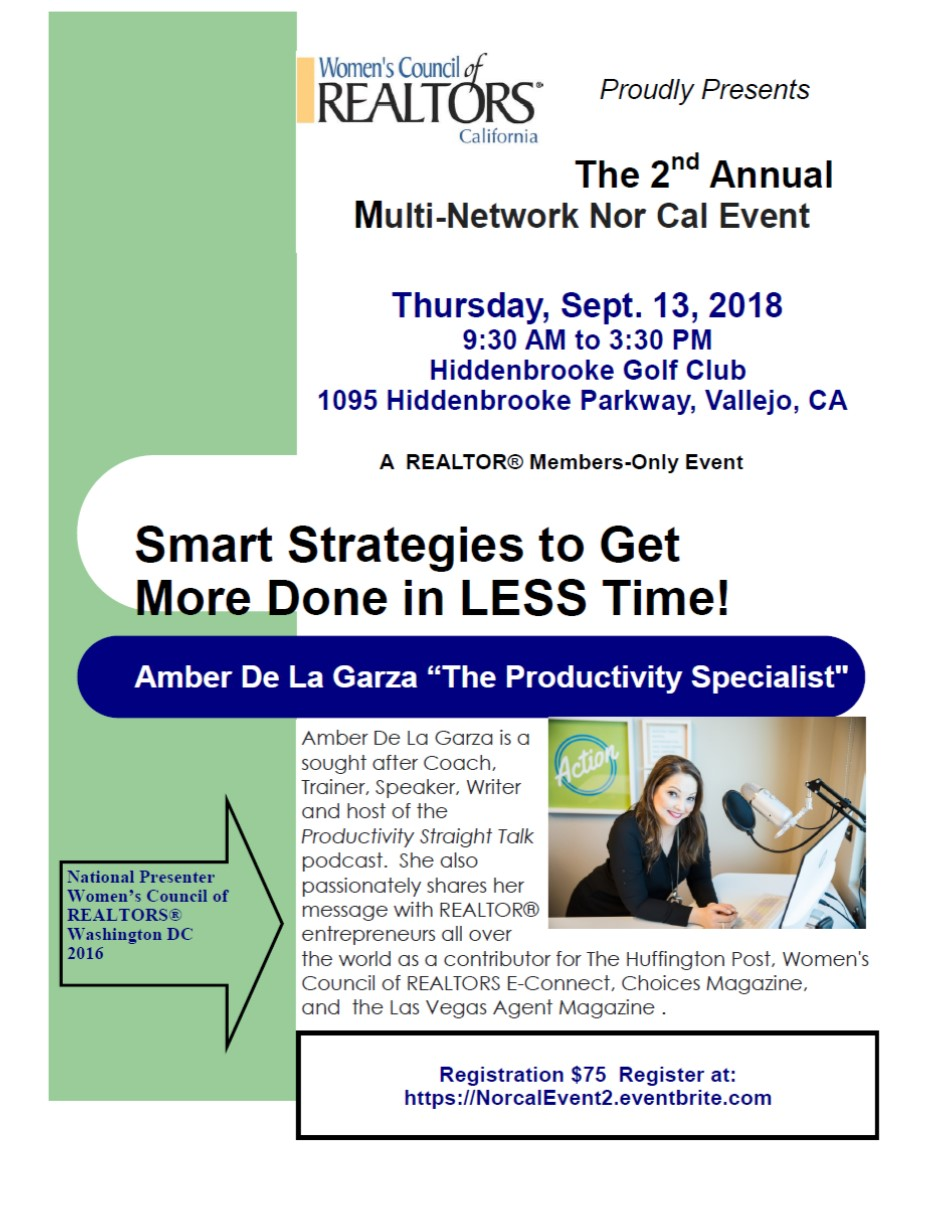 WCR - Smart Strategies to Get More Done in LESS Time! @ Hiddenbrooke Golf Club   Vallejo   California   United States