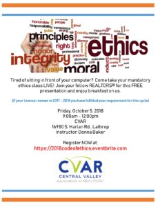 Mandatory Code of Ethics LIVE Course @ Central Valley AOR | Lathrop | California | United States