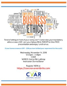 LIVE Code of Ethics Class @ Central Valley Association of REALTORS | Lathrop | California | United States