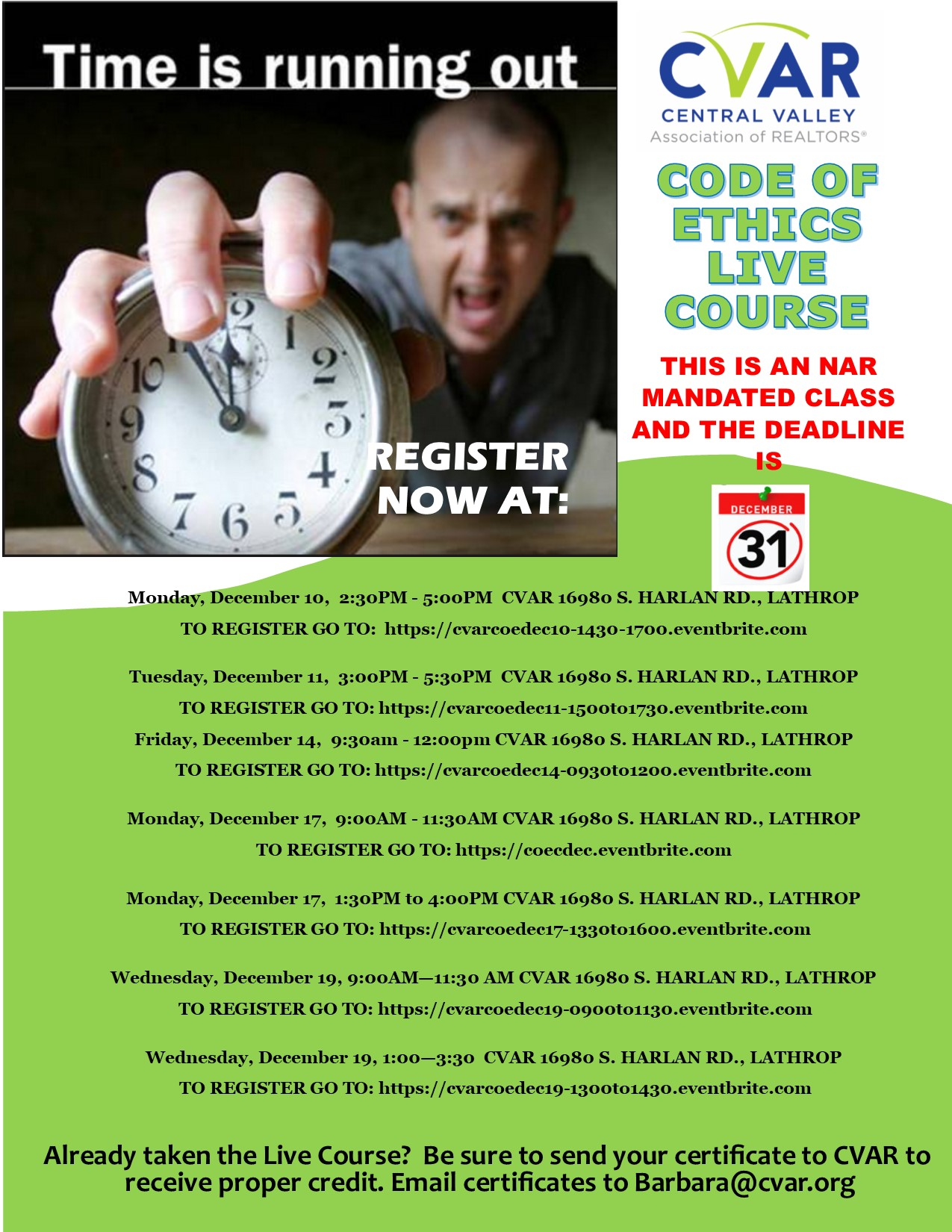 Code of Ethics Training PM Lathrop 1:30pm @ Central Valley Association of Realtors