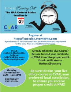 Code of Ethics Training @ CVAR | Lathrop | California | United States