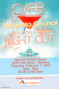Modesto Council REALTOR Night Out @ SKEWERS KABOB HOUSE