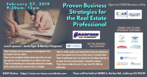 Proven Business Strategies for Real Estate Professionals @ CVAR
