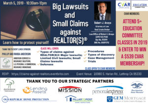 Big Lawsuits & Small Claims Against REALTORS @ CVAR