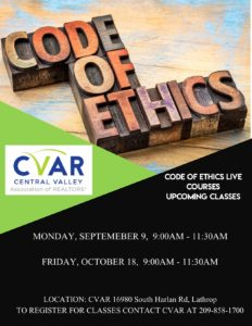 Code of Ethics Training @ CVAR