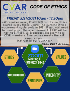 NAR Code of Ethics NON CE Credit Course ZOOM @ ZOOM WEBINAR