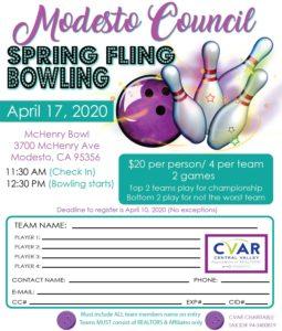 Modesto Council Spring Fling Bowling Tournament @ McHenry Bowl