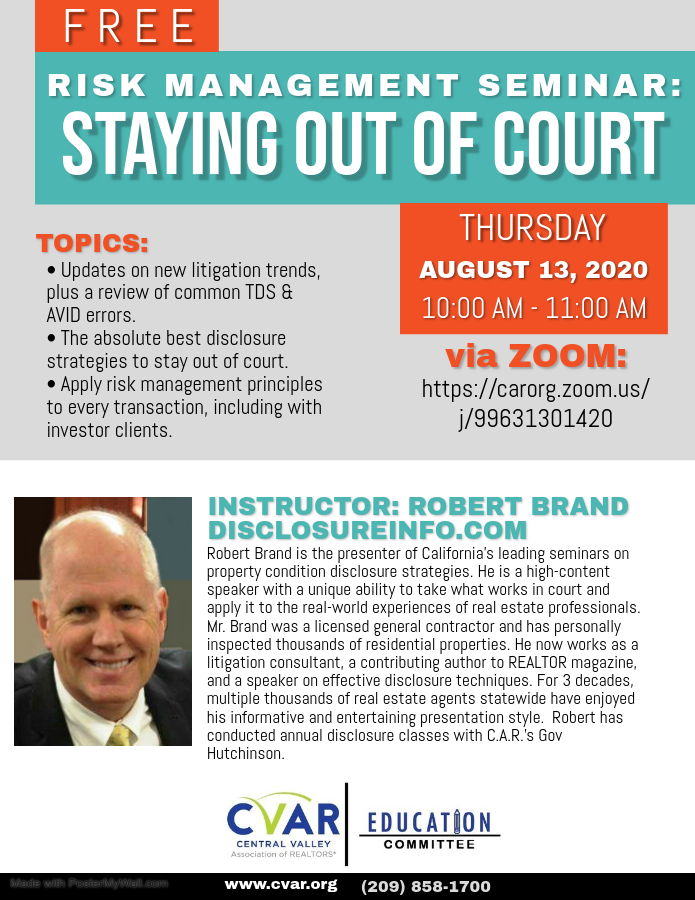 Risk Management: Staying Out of Court @ ZOOM