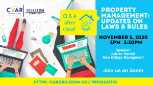Property Management: Updates on Laws & Rules @ ZOOM Webinar