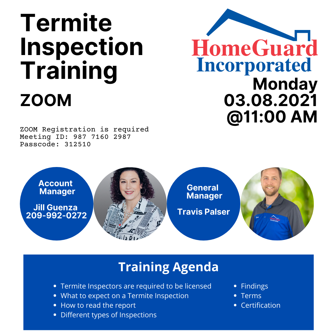 HomeGuard Inc., Termite Inspection Training @ ZOOM