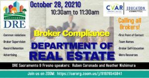 Department of Real Estate Broker Compliance Presentation @ ZOOM