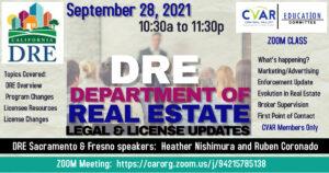Department of Real Estate Legal & License Updates @ ZOOM Webinar
